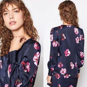 JOIE Antonela Floral Blouse Midnight Blue